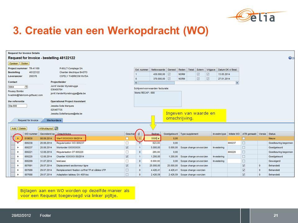 3. Creatie van een Werkopdracht (WO) 28/02/2012Footer21 Bijlagen aan een WO worden op dezelfde manier als voor een Request toegevoegd via linker pijlt