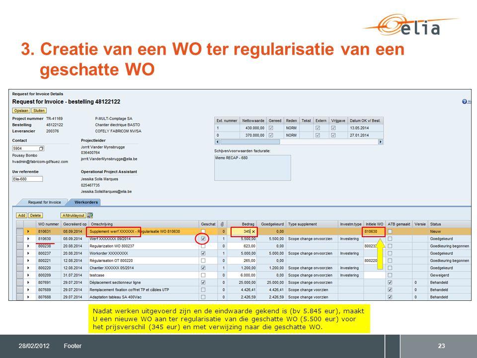 3. Creatie van een WO ter regularisatie van een geschatte WO 28/02/2012Footer23 Nadat werken uitgevoerd zijn en de eindwaarde gekend is (bv 5.845 eur)