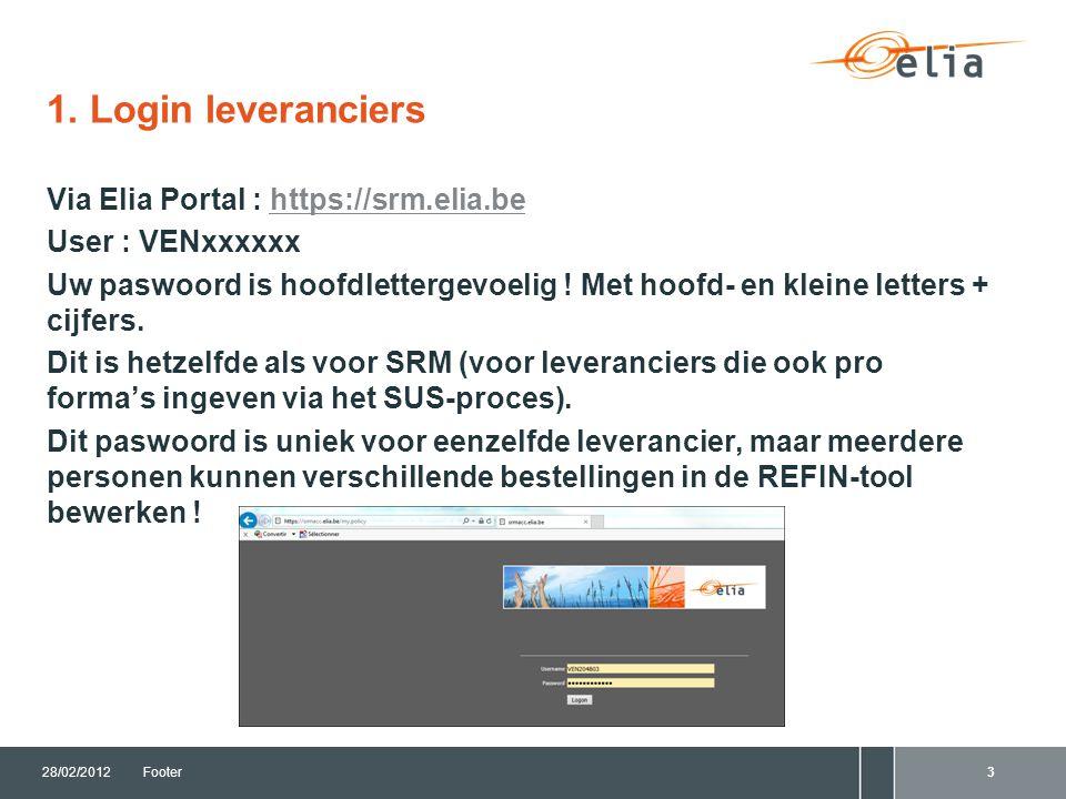 1. Login leveranciers Via Elia Portal : https://srm.elia.behttps://srm.elia.be User : VENxxxxxx Uw paswoord is hoofdlettergevoelig ! Met hoofd- en kle