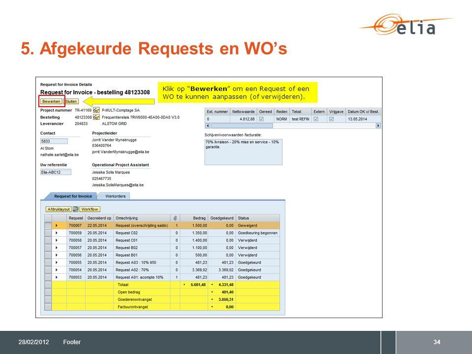 """5. Afgekeurde Requests en WO's 28/02/2012Footer34 Klik op """"Bewerken"""" om een Request of een WO te kunnen aanpassen (of verwijderen)."""
