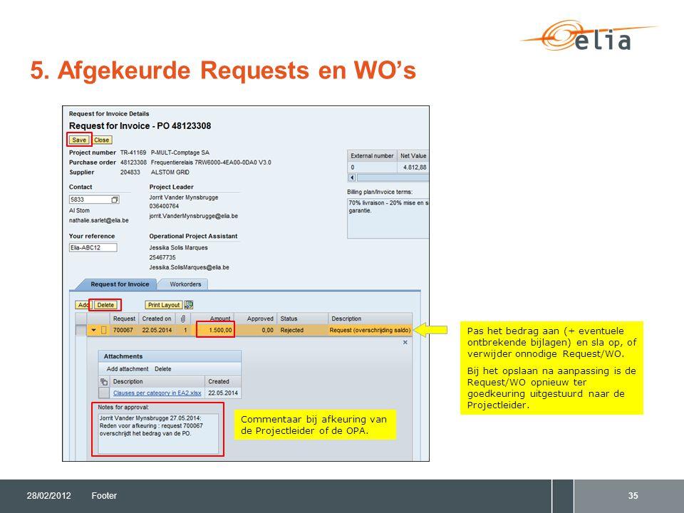 5. Afgekeurde Requests en WO's 28/02/2012Footer35 Pas het bedrag aan (+ eventuele ontbrekende bijlagen) en sla op, of verwijder onnodige Request/WO. B