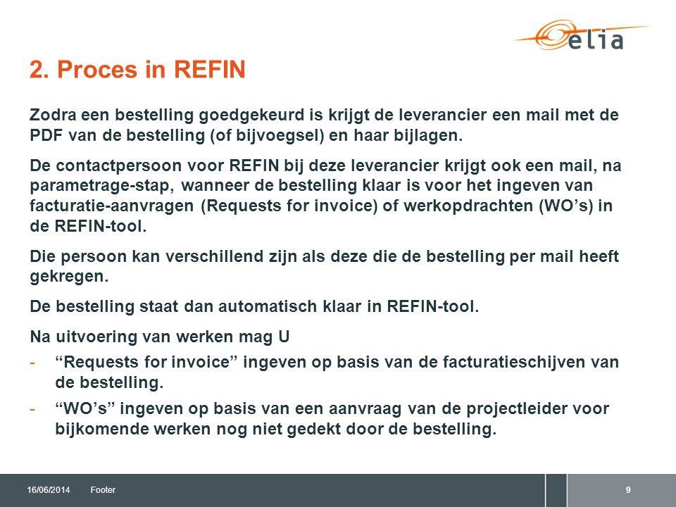 2. Proces in REFIN 16/06/2014Footer9 Zodra een bestelling goedgekeurd is krijgt de leverancier een mail met de PDF van de bestelling (of bijvoegsel) e