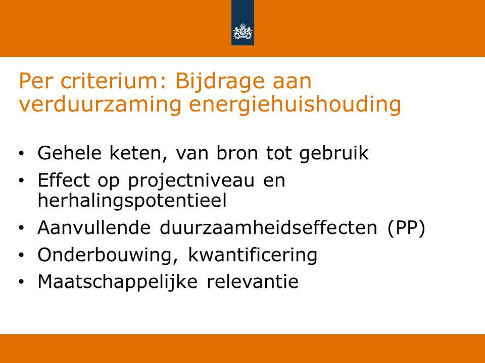 Per criterium: Bijdrage aan verduurzaming energiehuishouding Gehele keten, van bron tot gebruik Effect op projectniveau en herhalingspotentieel Aanvul