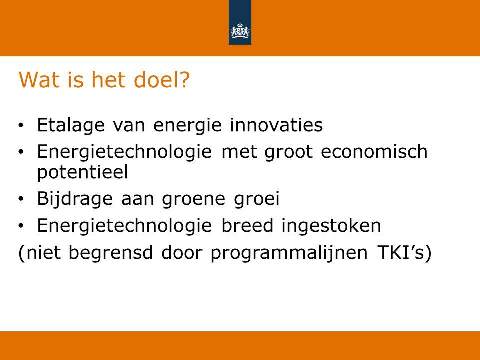 Wat is het doel? Etalage van energie innovaties Energietechnologie met groot economisch potentieel Bijdrage aan groene groei Energietechnologie breed
