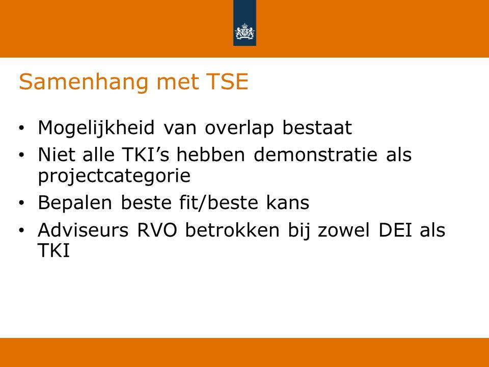 Samenhang met TSE Mogelijkheid van overlap bestaat Niet alle TKI's hebben demonstratie als projectcategorie Bepalen beste fit/beste kans Adviseurs RVO