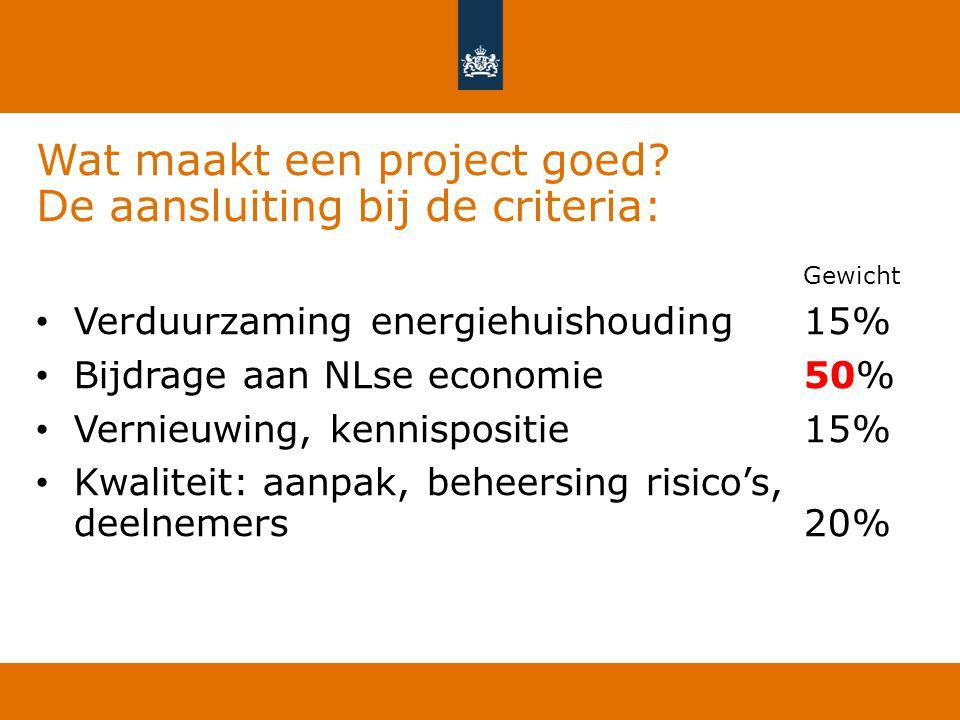 Wat maakt een project goed? De aansluiting bij de criteria: Gewicht Verduurzaming energiehuishouding15% Bijdrage aan NLse economie 50% Vernieuwing, ke