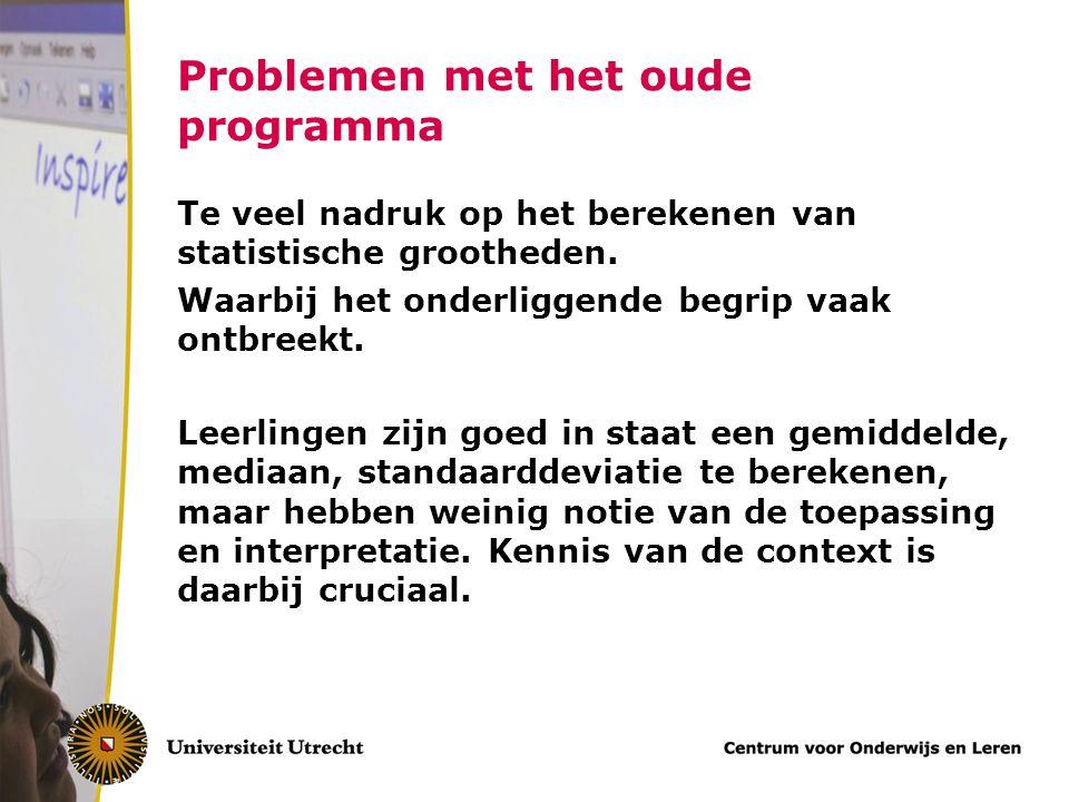 Problemen met het oude programma Te veel nadruk op het berekenen van statistische grootheden. Waarbij het onderliggende begrip vaak ontbreekt. Leerlin