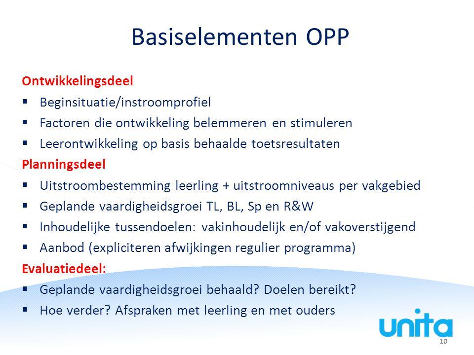 10 Basiselementen OPP Ontwikkelingsdeel  Beginsituatie/instroomprofiel  Factoren die ontwikkeling belemmeren en stimuleren  Leerontwikkeling op bas