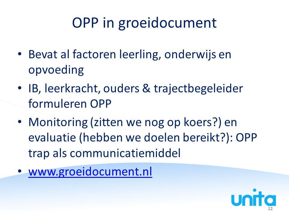 12 OPP in groeidocument Bevat al factoren leerling, onderwijs en opvoeding IB, leerkracht, ouders & trajectbegeleider formuleren OPP Monitoring (zitte