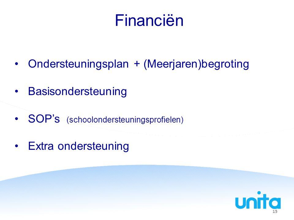 Financiën Ondersteuningsplan + (Meerjaren)begroting Basisondersteuning SOP's (schoolondersteuningsprofielen) Extra ondersteuning 15