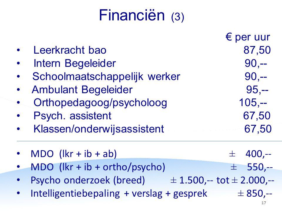 Financiën (3) € per uur Leerkracht bao 87,50 Intern Begeleider 90,-- Schoolmaatschappelijk werker 90,-- Ambulant Begeleider 95,-- Orthopedagoog/psycho
