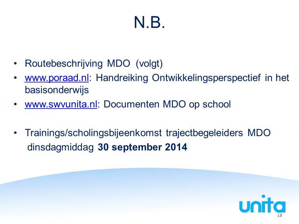 18 N.B. Routebeschrijving MDO (volgt) www.poraad.nl: Handreiking Ontwikkelingsperspectief in het basisonderwijswww.poraad.nl www.swvunita.nl: Document