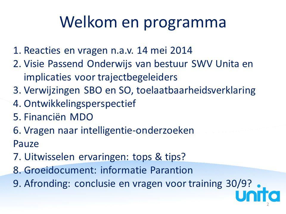 Welkom en programma 1.Reacties en vragen n.a.v. 14 mei 2014 2.Visie Passend Onderwijs van bestuur SWV Unita en implicaties voor trajectbegeleiders 3.V