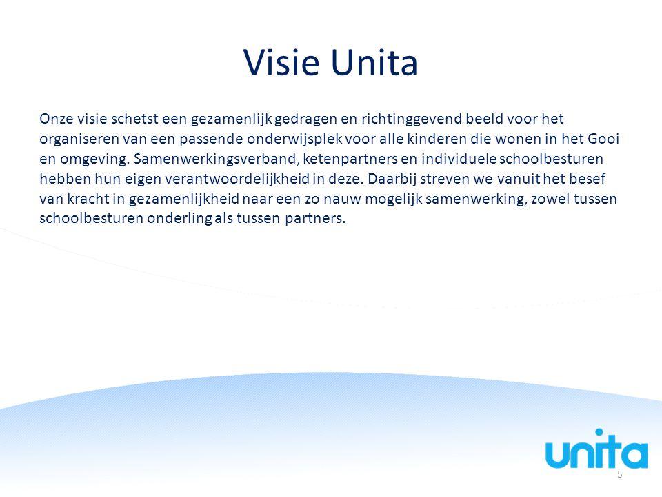 Visie Unita Onze visie schetst een gezamenlijk gedragen en richtinggevend beeld voor het organiseren van een passende onderwijsplek voor alle kinderen die wonen in het Gooi en omgeving.