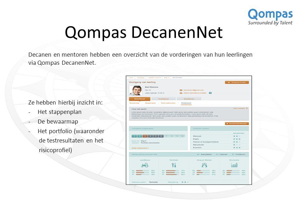 Qompas DecanenNet Decanen en mentoren hebben een overzicht van de vorderingen van hun leerlingen via Qompas DecanenNet.
