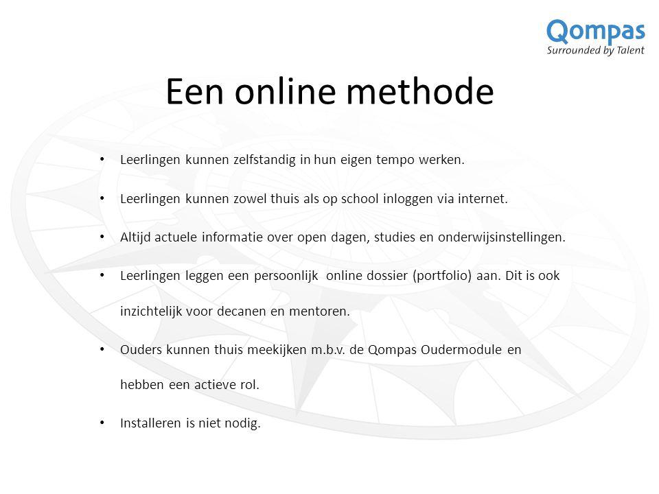 Het lesmateriaal De site http://studiekeuze.qompas.nl EntryCard Geeft toegang tot het online gedeelte: tests, opdrachten en het persoonlijk portfolio.