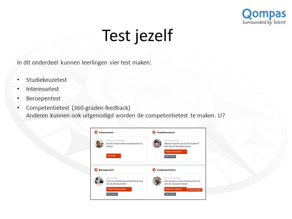 Test jezelf In dit onderdeel kunnen leerlingen vier test maken: Studiekeuzetest Interessetest Beroepentest Competentietest (360-graden-feedback) Anderen kunnen ook uitgenodigd worden de competentietest te maken.