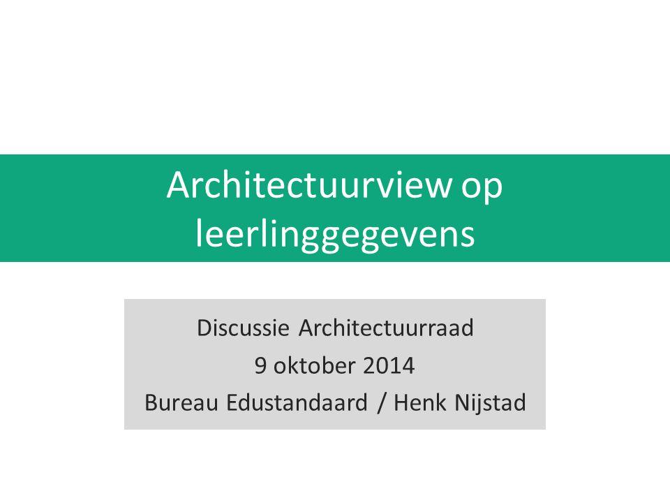 Beeld schetsen van de status van standaardisatie van leerlinggegevens Discussie creeren over de te volgen routes voor doorontwikkeling en implementatiestrategie Welke sturing (regie) wil de Architectuurraad hierop voeren .