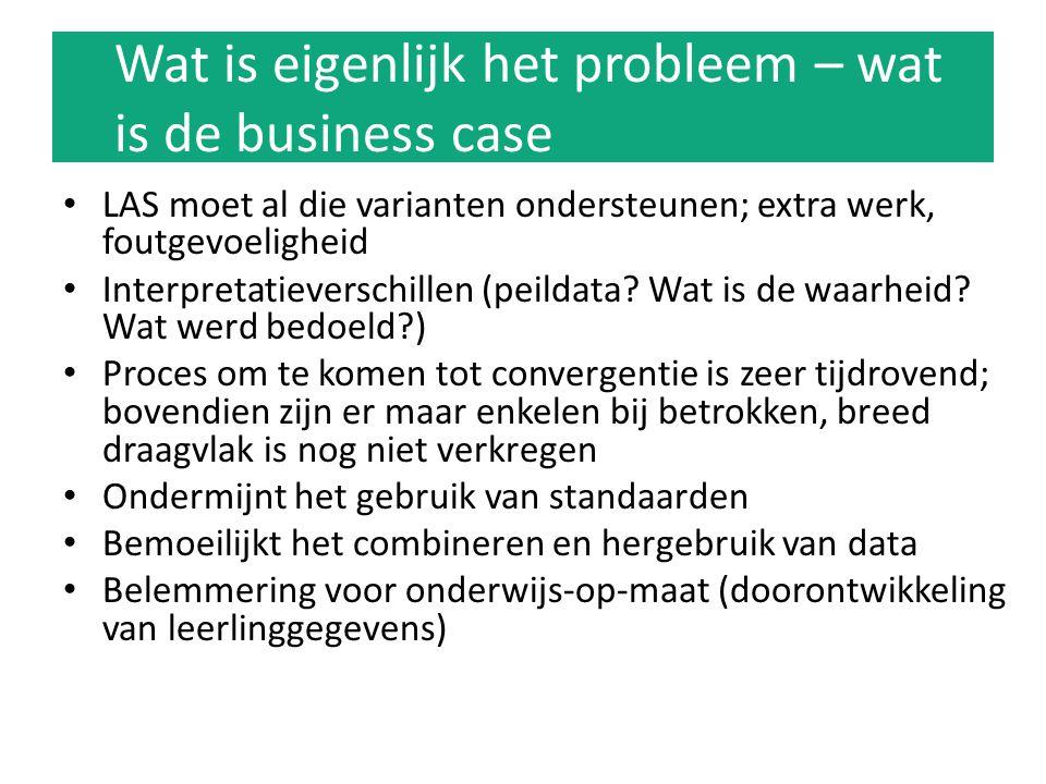 Wat is eigenlijk het probleem – wat is de business case LAS moet al die varianten ondersteunen; extra werk, foutgevoeligheid Interpretatieverschillen