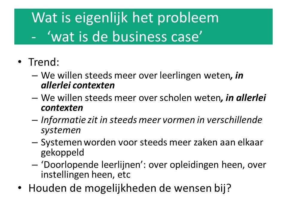 Wat is eigenlijk het probleem – wat is de business case LAS moet al die varianten ondersteunen; extra werk, foutgevoeligheid Interpretatieverschillen (peildata.
