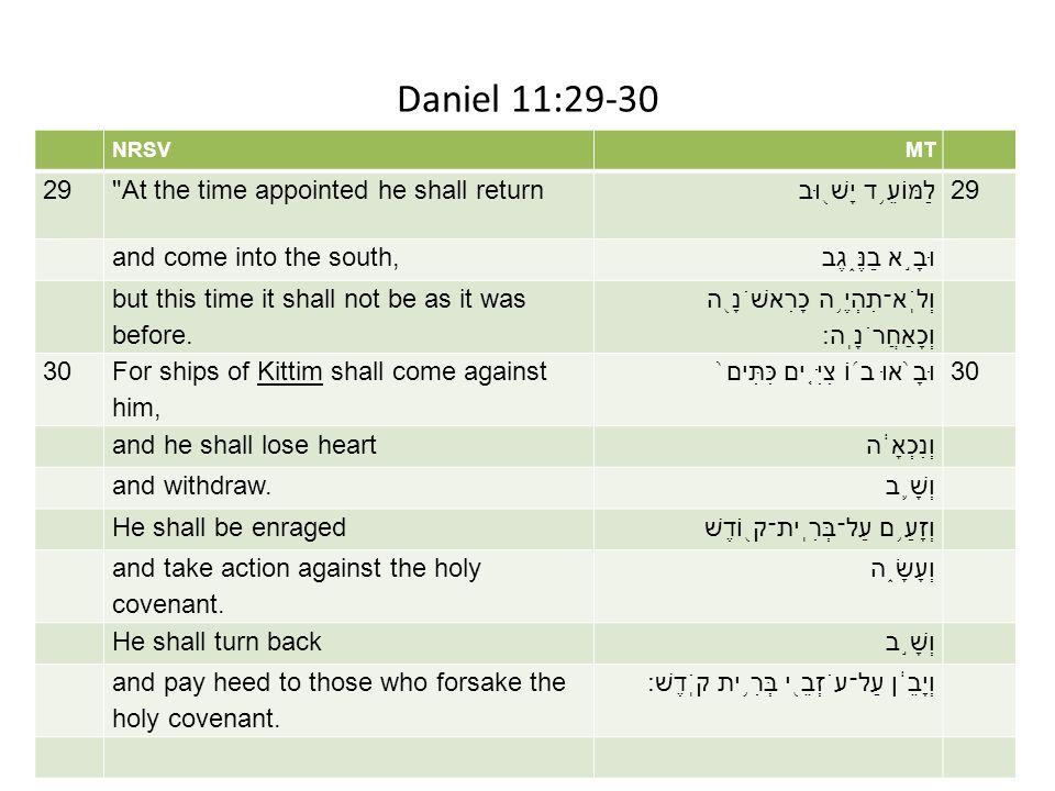 Daniel 11:29-30 NRSVMT 29