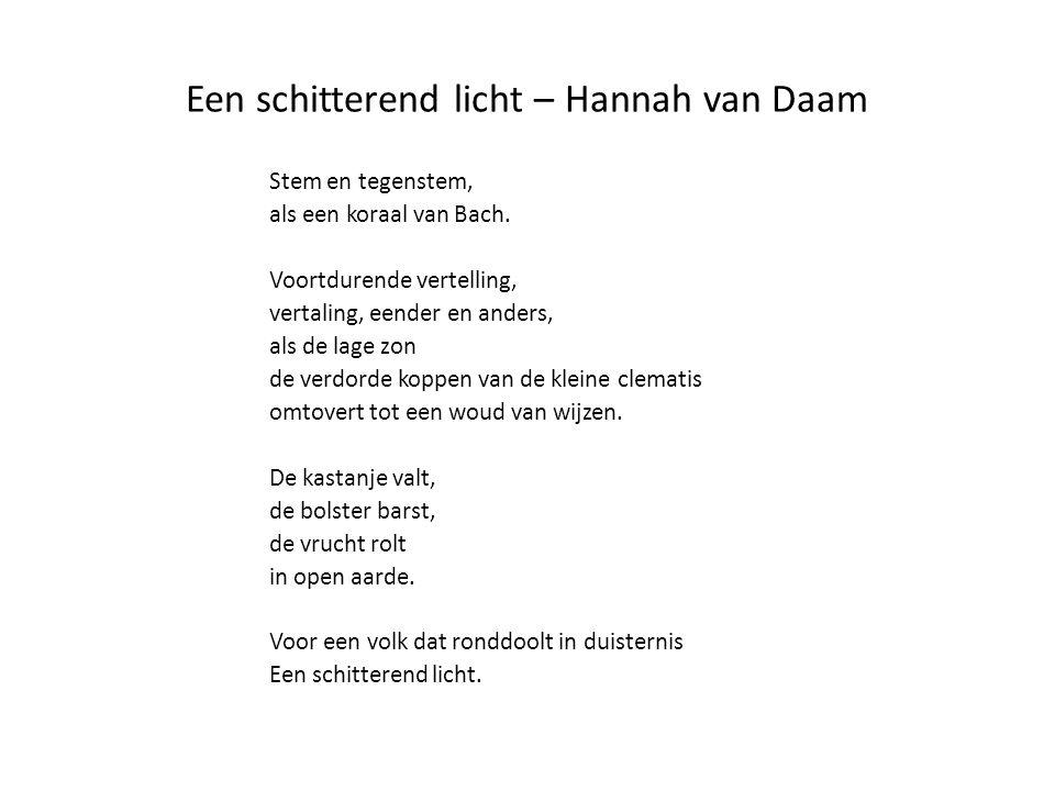 Een schitterend licht – Hannah van Daam Stem en tegenstem, als een koraal van Bach. Voortdurende vertelling, vertaling, eender en anders, als de lage