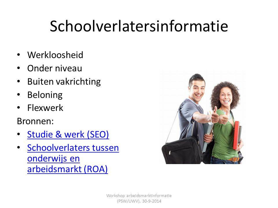 Schoolverlatersinformatie Werkloosheid Onder niveau Buiten vakrichting Beloning Flexwerk Bronnen: Studie & werk (SEO) Schoolverlaters tussen onderwijs
