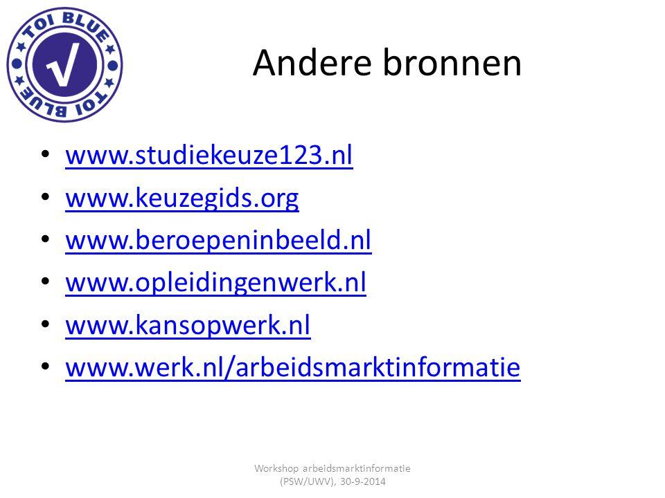 Andere bronnen www.studiekeuze123.nl www.keuzegids.org www.beroepeninbeeld.nl www.opleidingenwerk.nl www.kansopwerk.nl www.werk.nl/arbeidsmarktinforma