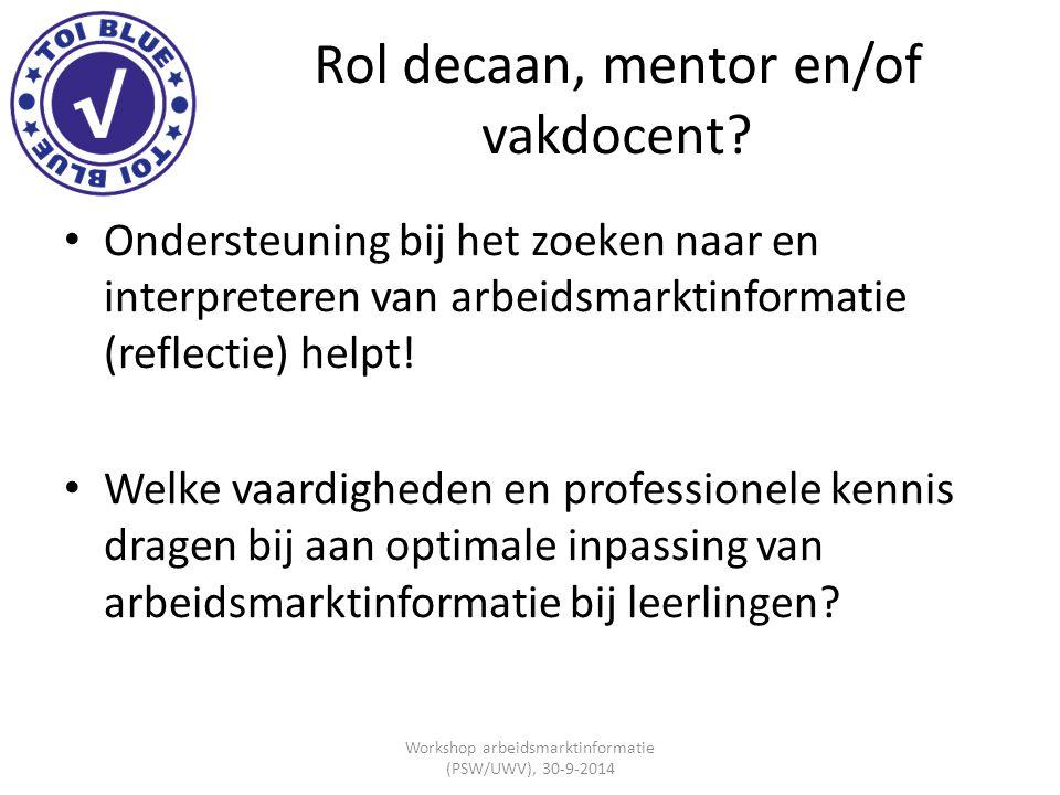 Rol decaan, mentor en/of vakdocent? Ondersteuning bij het zoeken naar en interpreteren van arbeidsmarktinformatie (reflectie) helpt! Welke vaardighede