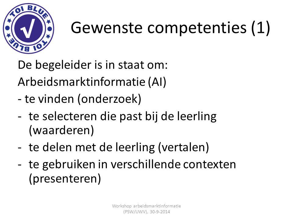 Gewenste competenties (1) De begeleider is in staat om: Arbeidsmarktinformatie (AI) - te vinden (onderzoek) -te selecteren die past bij de leerling (w