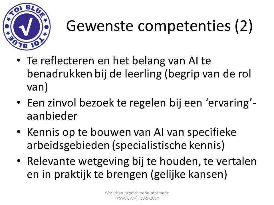 Gewenste competenties (2) Te reflecteren en het belang van AI te benadrukken bij de leerling (begrip van de rol van) Een zinvol bezoek te regelen bij