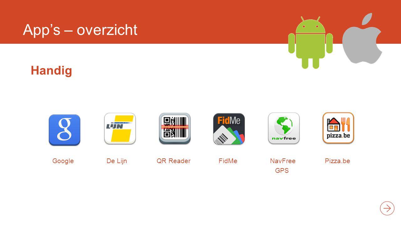 App's – overzicht Handig GoogleDe Lijn QR Reader FidMe NavFree GPS Pizza.be