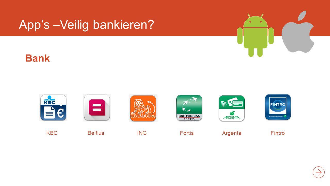 App's –Veilig bankieren? Bank KBCBelfiusINGFortisArgentaFintro