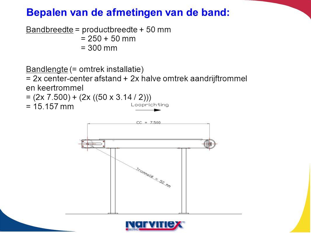 Bandbreedte = productbreedte + 50 mm = 250 + 50 mm = 300 mm Bandlengte (= omtrek installatie) = 2x center-center afstand + 2x halve omtrek aandrijftro
