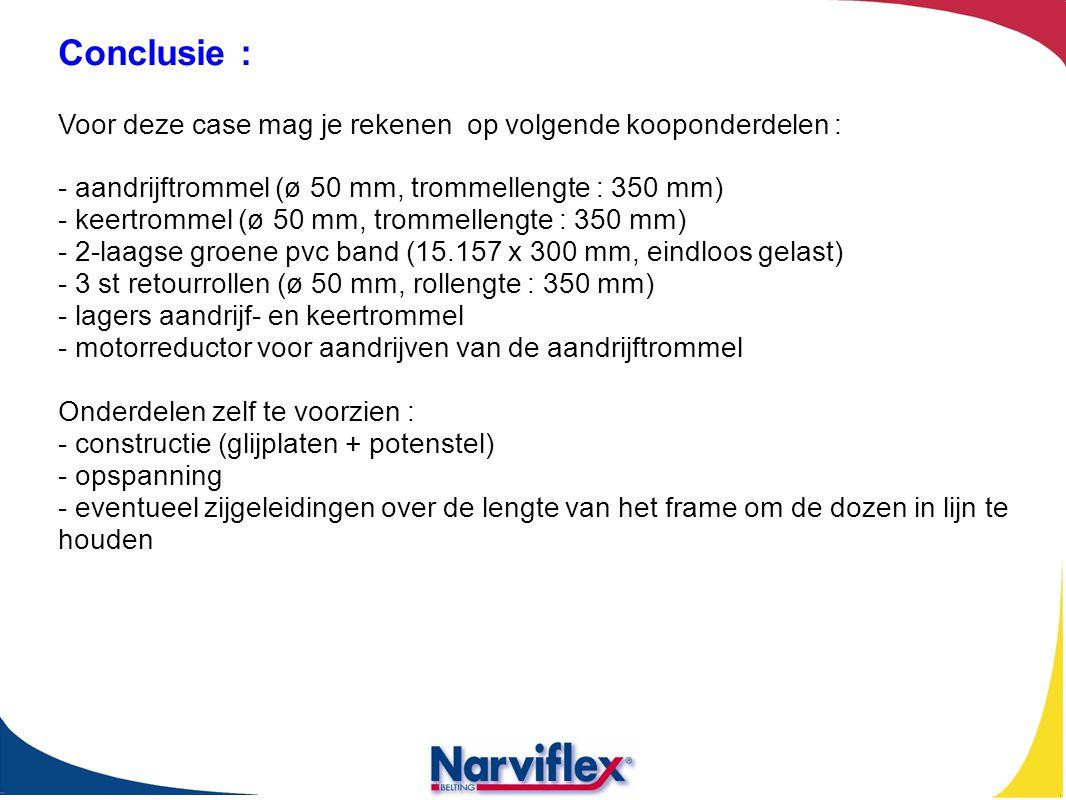 Conclusie : Voor deze case mag je rekenen op volgende kooponderdelen : - aandrijftrommel (ø 50 mm, trommellengte : 350 mm) - keertrommel (ø 50 mm, tro