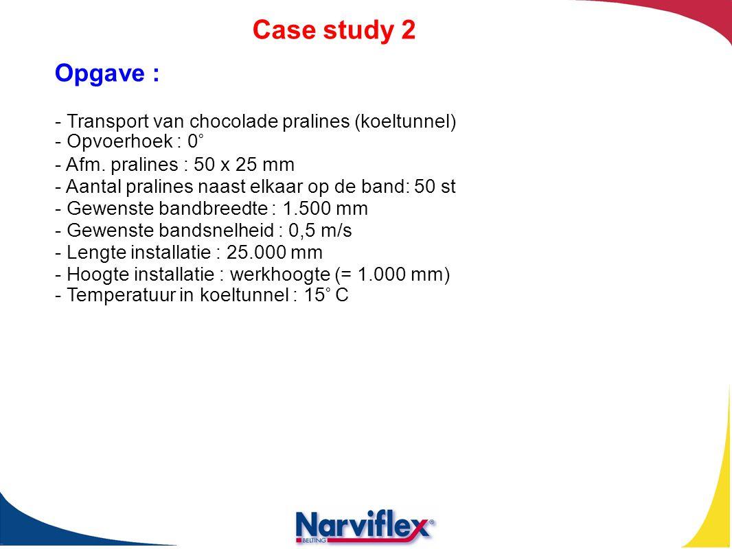 Case study 2 Opgave : - Transport van chocolade pralines (koeltunnel) - Opvoerhoek : 0° - Afm. pralines : 50 x 25 mm - Aantal pralines naast elkaar op