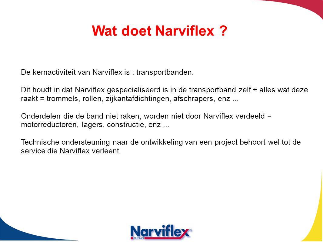 De kernactiviteit van Narviflex is : transportbanden. Dit houdt in dat Narviflex gespecialiseerd is in de transportband zelf + alles wat deze raakt =