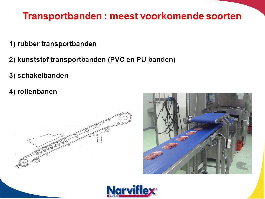 1) rubber transportbanden 2) kunststof transportbanden (PVC en PU banden) 3) schakelbanden 4) rollenbanen Transportbanden : meest voorkomende soorten