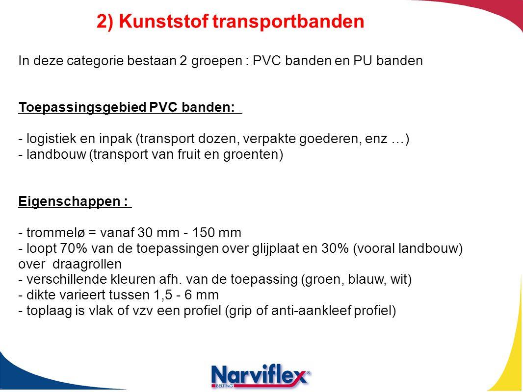 In deze categorie bestaan 2 groepen : PVC banden en PU banden Toepassingsgebied PVC banden: - logistiek en inpak (transport dozen, verpakte goederen,