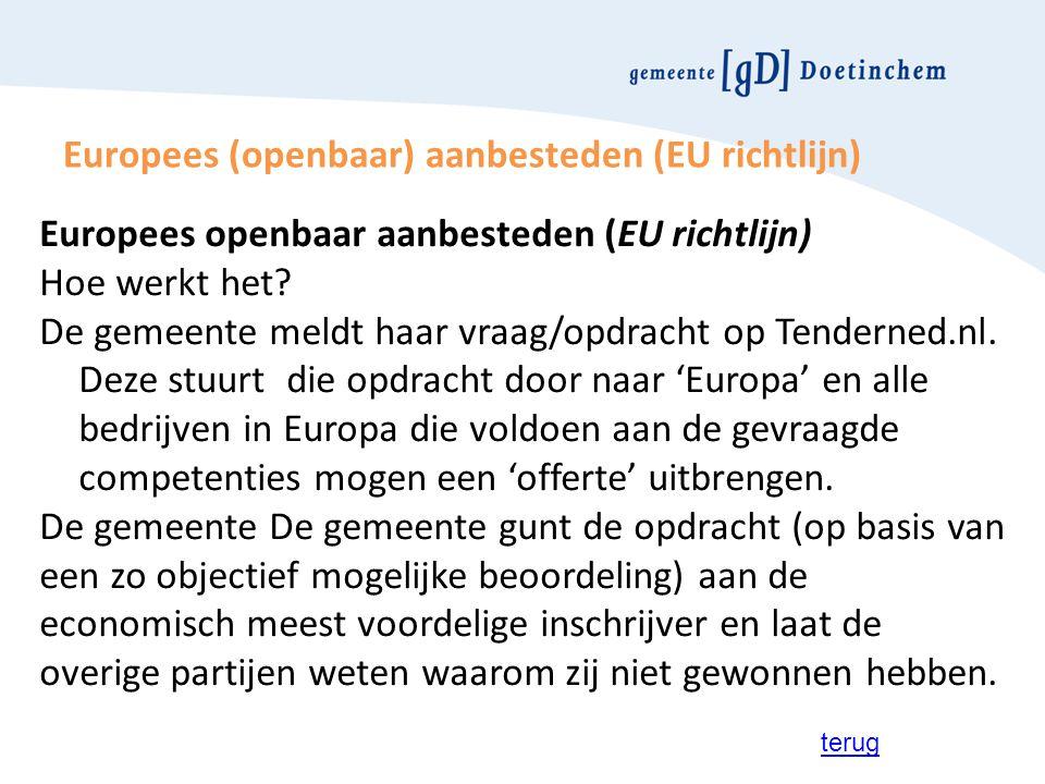 Europees (openbaar) aanbesteden (EU richtlijn) Europees openbaar aanbesteden (EU richtlijn) Hoe werkt het? De gemeente meldt haar vraag/opdracht op Te