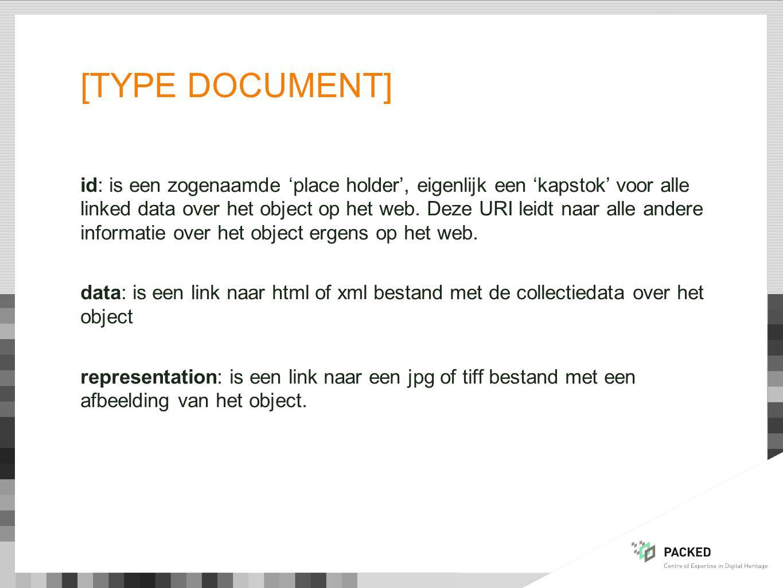 [TYPE DOCUMENT] id: is een zogenaamde 'place holder', eigenlijk een 'kapstok' voor alle linked data over het object op het web.