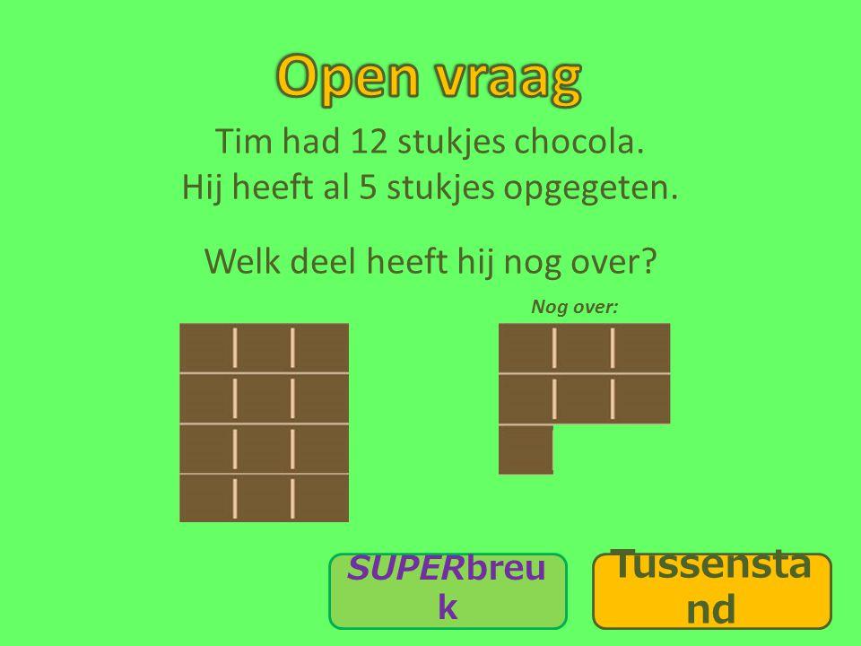 Tim had 12 stukjes chocola.Hij heeft al 5 stukjes opgegeten.