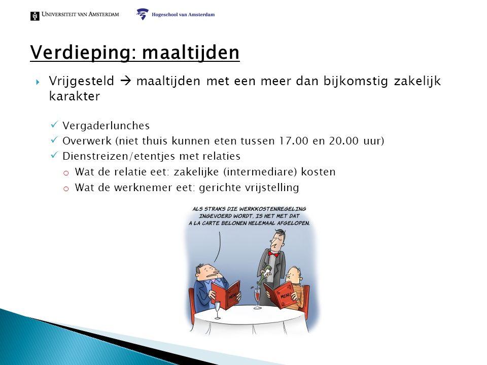  Vrijgesteld  maaltijden met een meer dan bijkomstig zakelijk karakter Vergaderlunches Overwerk (niet thuis kunnen eten tussen 17.00 en 20.00 uur) D