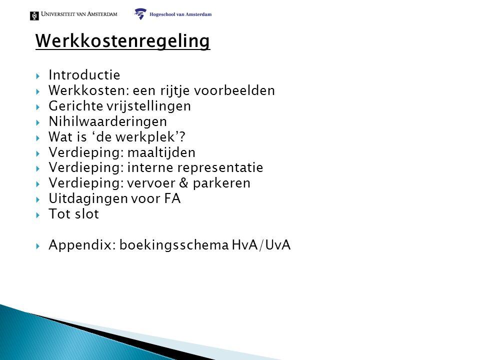  Introductie  Werkkosten: een rijtje voorbeelden  Gerichte vrijstellingen  Nihilwaarderingen  Wat is 'de werkplek'?  Verdieping: maaltijden  Ve