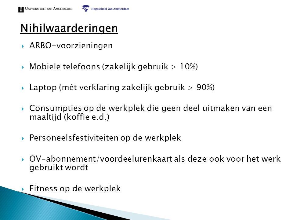  ARBO-voorzieningen  Mobiele telefoons (zakelijk gebruik > 10%)  Laptop (mét verklaring zakelijk gebruik > 90%)  Consumpties op de werkplek die ge
