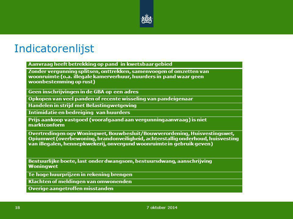 7 oktober 2014 Indicatorenlijst Aanvraag heeft betrekking op pand in kwetsbaar gebied Zonder vergunning splitsen, onttrekken, samenvoegen of omzetten
