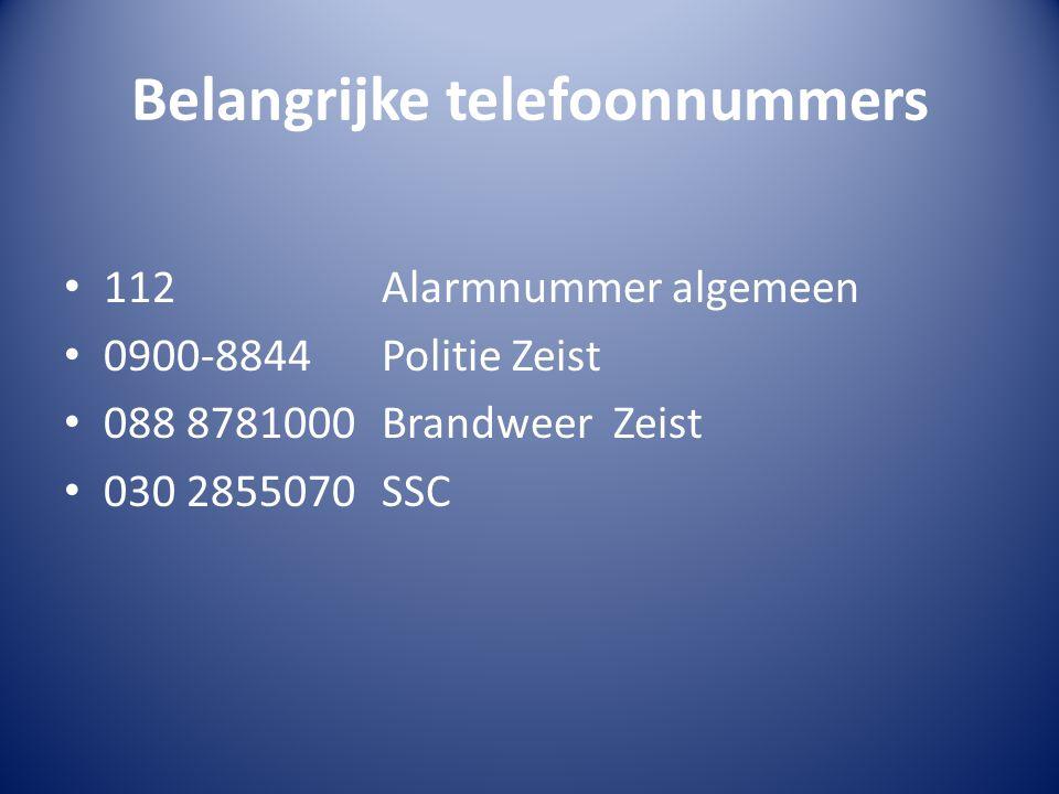 Belangrijke telefoonnummers 112Alarmnummer algemeen 0900-8844Politie Zeist 088 8781000Brandweer Zeist 030 2855070SSC