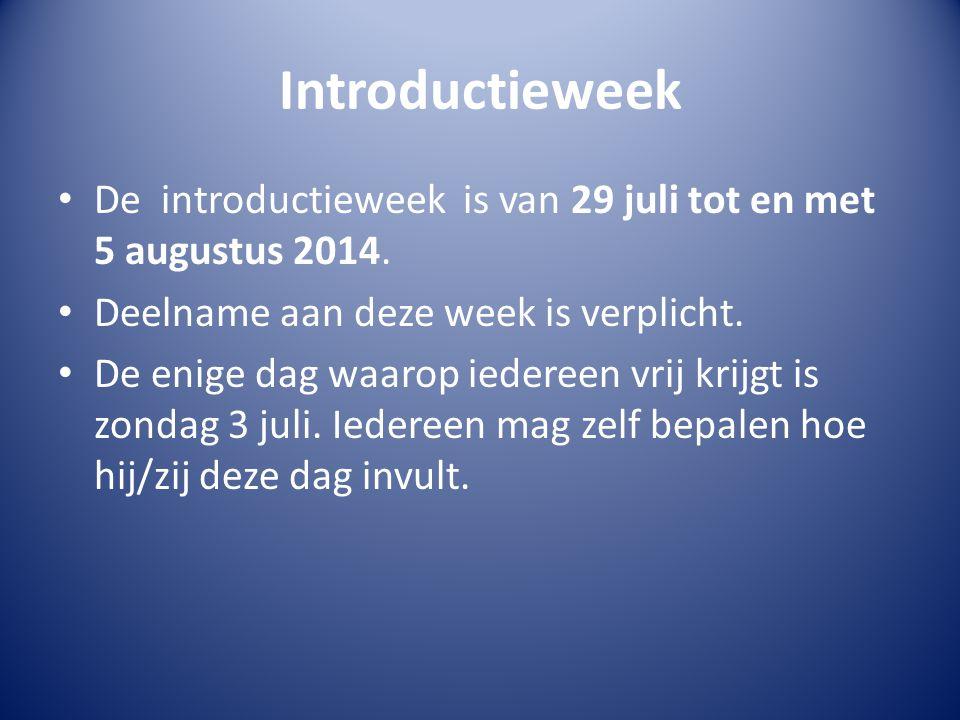 Programma introductieweek Het introductie programma bestaat uit verschillende activiteiten: Voorlichtingsbijeenkomsten Recreatie Sociale activiteiten Overige activiteiten