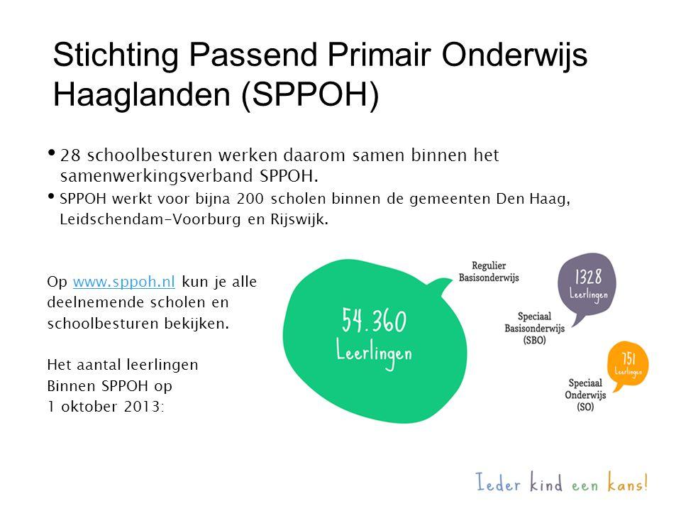 28 schoolbesturen werken daarom samen binnen het samenwerkingsverband SPPOH. SPPOH werkt voor bijna 200 scholen binnen de gemeenten Den Haag, Leidsche