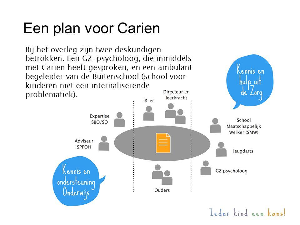 Een plan voor Carien Bij het overleg zijn twee deskundigen betrokken. Een GZ-psycholoog, die inmiddels met Carien heeft gesproken, en een ambulant beg